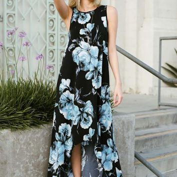 High Low Floral Maxi Dress - Navy Flowers