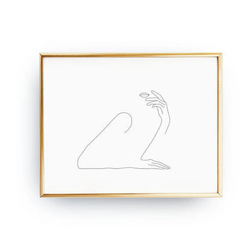Charming Female Print, Minimalist Woman Body, Female Art, Single Line, Simple Sketch, Black And White, Minimalist Art, Feminine Silhouette
