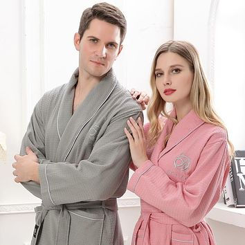 Cotton bathrobe Men kimono robe pijamas long soft warm XL Sleep Lounge Peignoir Nightgowns Lovers bridesmaid robes summer