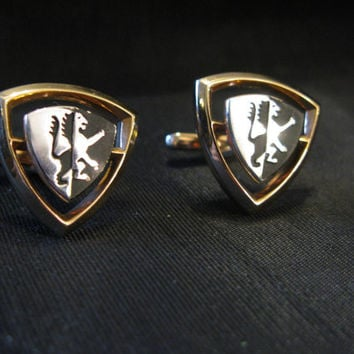 Lion Cufflinks Crest Shield, Vintage Cuff Links Rare, Groom Gift, Father of Bride
