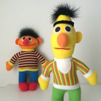 1980s Playskool Bert and Ernie / Sesame Street Plush Toys