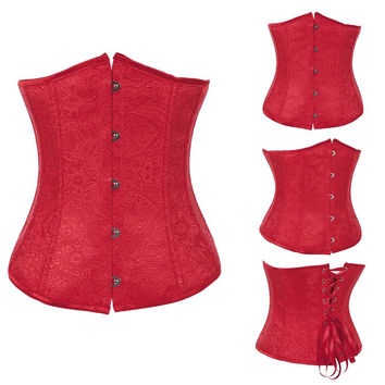 Red Floral Underbust Corset