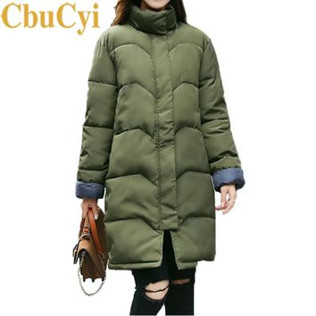 CbuCyi Winter Outwear Overcoat Women Long Parkas Wide-waisted Full Sleeve Zippers Jackets Female Warm Thick Casual Parka Coats
