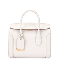 Alexander McQueen Heroine 30 Small Sweet Calf Leather Tote Bag, Off White