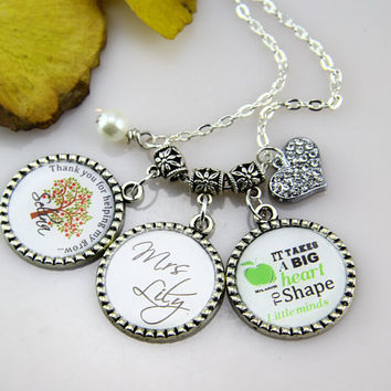 Teachers Necklace,Gifts for Teachers, Thanks for helping me Grow. Custom Letters, Green apple,art bottle cap Jewelry