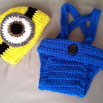 Free Crochet Minion Hat And Diaper Cover Pattern Dancox For