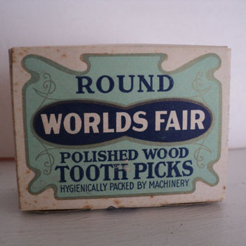 Toothpicks Worlds Fair Round Polished Wood Made in Maine 1900's Unopened Box Antique Wooden Toothpicks