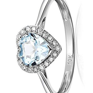 CERTIFIED 1/10 cttw 10k Diamond Solitaire Heart Halo Engagement Ring
