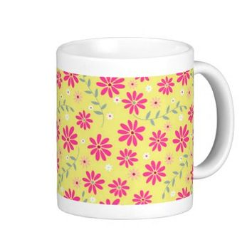 Retro Pink and Yellow Floral Pattern Coffee Mug