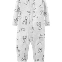 Animal Snap-Up Cotton Sleep & Play