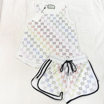 GUCCI Fashion New Shining Multicolor More Letter Print Women Sports Leisure Vest Top And Shorts Two Piece Suit White