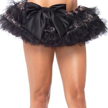 Sequin And Organza Ruffle Striped Petticoat Skirt (One Size,Black)