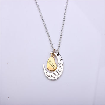 Hand stamped I Love You to the Moon and Back Charm Necklace Silver Gold son +Gift Box