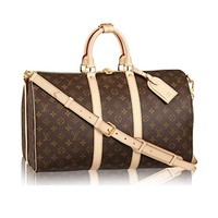 LV Louis Vuitton Monogram Canvas Cross Body Handle Keepall Bandoulière 45 Made in France