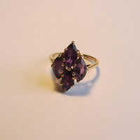 14k Solid Gold Natural Amethyst 4 Marquis Stones Ring - Sz 6.50 - 3.64g