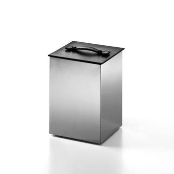 WS Bath Collections Secioni 53431.60 Complements Stainless Steel/Lid Black Leather Waste/Paper Basket