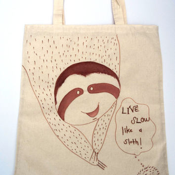 Hand Painted Tote Bag Sloth Hedgehog Hand drawn Cotton Canvas Shopping Bag -Large Size