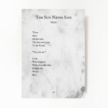 The Sun Never Says, HAFIZ Poem, Book Page Poster