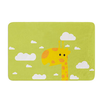 "Strawberringo ""Baby Giraffe"" Green Yellow Memory Foam Bath Mat"
