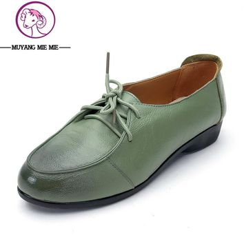 New Spring Women Genuine Leather Shoes Lace-up Moccasins Women Loafers Soft Leisure Fl