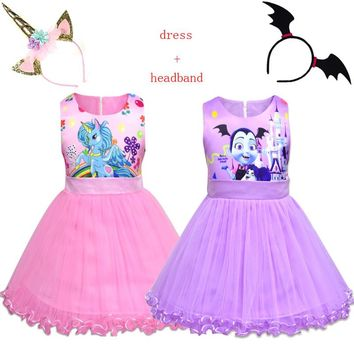 Kids Vampirina Unicorn Clothing Princess Party Evening Tutu Dress for Baby Girls Childrens moana Costumes Vestido With Headband