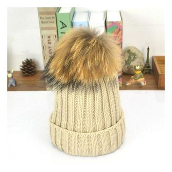 ESB1ON 2016 New15 cm ball Rabbit hair large ball elastic knitted winter pompom hat warm hats for women Teens fur caps
