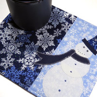 Winter snowman mug rug/mug mat with glitter and crystals - Coffee cup and snack mat