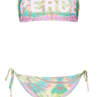 Multi Peace Bandeau Bikini - Swimwear - Clothing - Topshop USA