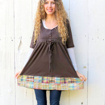 Brown Babydoll Shirt womens size Large upcycled boho tunic top recycled refashioned eco friendly fashion , upcycled clothing by wearlovenow