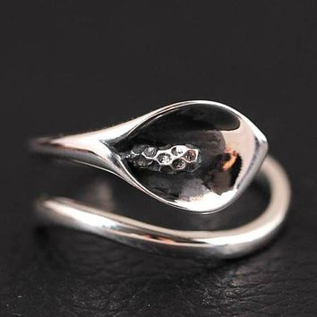 Hot Sale Handmade 925 Sterling Silver Calla Lily Flower Ring