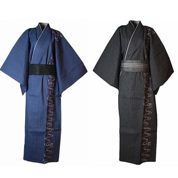 Men Japanese Style Kimono Yukata Bathrobe Pajamas embroidery Cotton Robe Thick Clothing Long Summer
