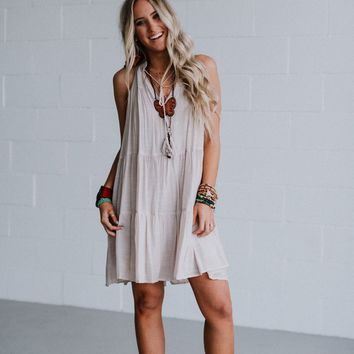 Alora Multi Tier Gathered Mini Dress - Taupe