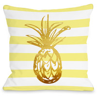 """""""Tropical Stripes Pineapple"""" Indoor Throw Pillow by OneBellaCasa, 16""""x16"""""""