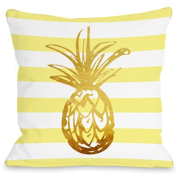 """Tropical Stripes Pineapple"" Indoor Throw Pillow by OneBellaCasa, 16""x16"""