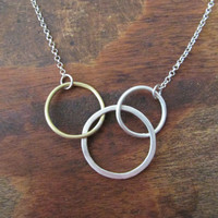 Metal Circle Links Chain Necklace, Handmade Metalsmith Geometry Minimal Jewelry