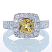 18K White Gold Canary Yellow Cushion Sapphire Diamond Halo Double Row Pave Diamond Engagement Wedding Ring