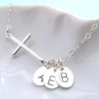 Side Cross Necklace with Initials, Personalized, Mother's gift, Mother's Jewelry, Christening gift, Letters, Custom Jewelry