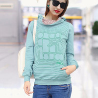 Green Scarf Collar Striped Print Hooded Sweatshirt