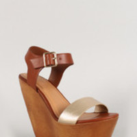 Delicious Two Tone Open Toe Faux Wooden Platform Wedge