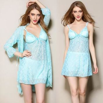 Female Sexy Nightdress+Bathrobe 2Pcs Robe & Gown Set New Arrival Lace Silk Pajamas Sleepwear Pijamas Set Home Clothes For Women