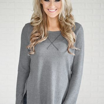 Soft Slate Blue Knit Thermal Top