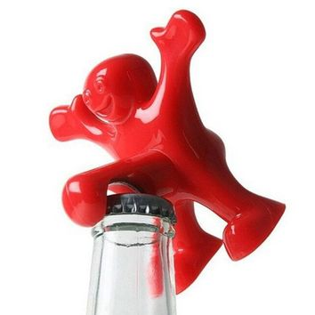 VONC1Y Creative Bar Tools Wine Opener Happy Man Beer Soda Novelty Bottle Opener
