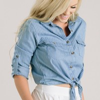 Mabel Striped Denim Tie Front Shirt