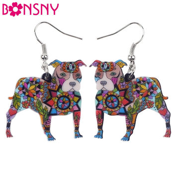 Bonsny Cute Big Long Animal Acrylic Dangle Drop Pit Bull Dog Earrings 2016 News Style Dangle Fashion Jewelry For Girls Women