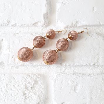 Rose Gold Ball Drop Earrings