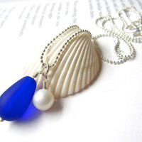 Blue Bridesmaids seaglass Jewelry - Royal Blue Wedding Jewelry Blue seaglass Necklaces