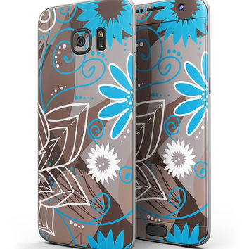 Brown Surface with Blue and White Whymsical Floral Pattern - Full Body Skin-Kit for the Samsung Galaxy S7 or S7 Edge