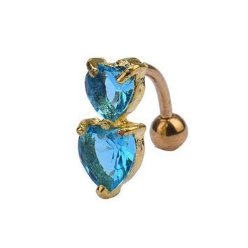 Reverse Crystal Bar Belly Ring Gold Body Piercing Button Navel Two Heart Blue