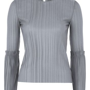Matte Plisse Trumpet Sleeve Top - Tops - Clothing