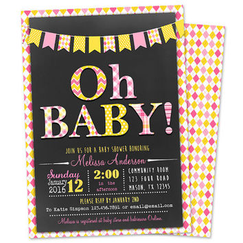 Oh Baby Invitation - Oh Baby Shower Invitations - Chalk Modern Trendy Chevron - Pink Yellow - Sunshine Spring - Girl Baby Shower Invite